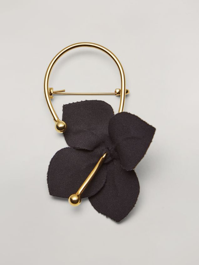 Marni FLORA brooch in metal with contrast cotton flowers black and green Woman - 1