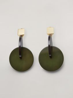 Marni VERTIGO earrings in metal and resin green and black Woman