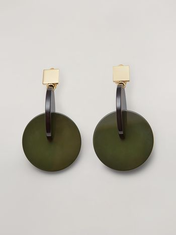 Marni VERTIGO earrings in metal and resin green and black Woman f