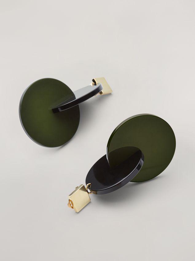 Marni VERTIGO earrings in metal and resin green and black Woman - 4