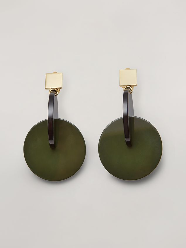 Marni VERTIGO earrings in metal and resin green and black Woman - 1