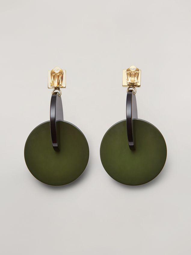 Marni VERTIGO earrings in metal and resin green and black Woman - 3