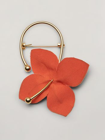 Marni FLORA brooch in metal with contrast cotton flowers pink and orange Woman f