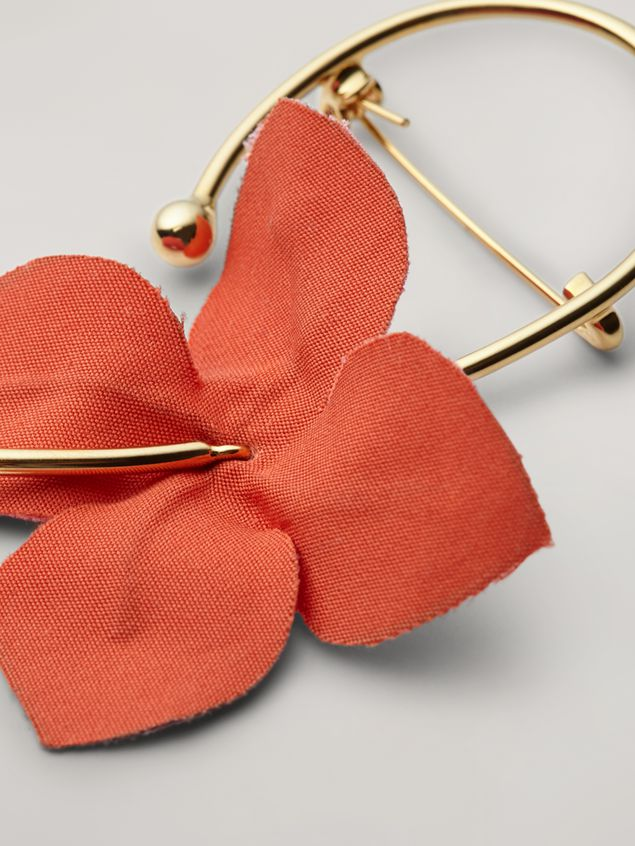 Marni FLORA brooch in metal with contrast cotton flowers pink and orange Woman - 4