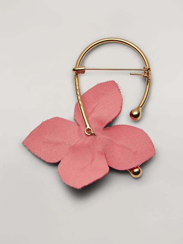 Marni FLORA brooch in metal with contrast cotton flowers pink and orange Woman - 3