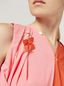 Marni FLORA brooch in metal with contrast cotton flowers pink and orange Woman - 2