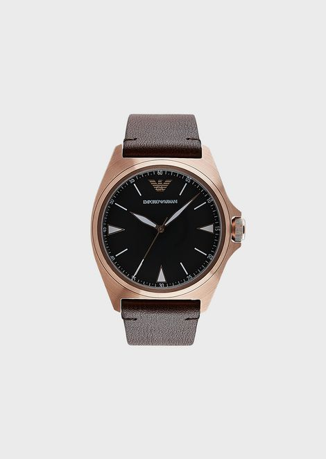 Men's Leather Three-Hand Watch