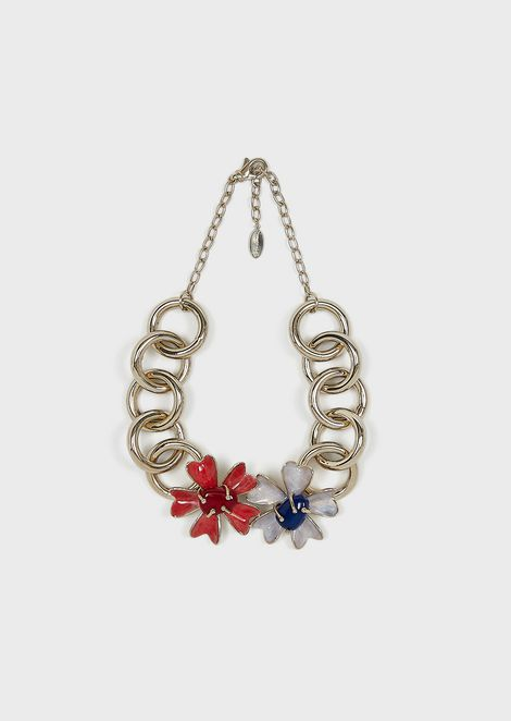 Chain necklace with enamelled flowers decoration