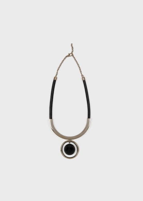 Necklace with sphere pendant and brass hoop
