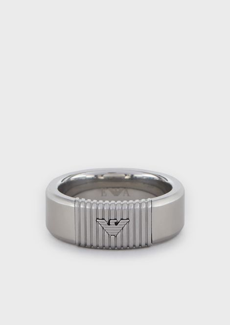 Men's Silver-tone Stainless Steel Ring Band