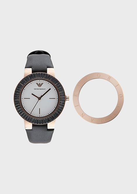 Set de regalo para mujer con reloj con anillo superior intercambiable