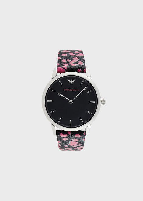 Reloj de piel con dos manecillas para mujer