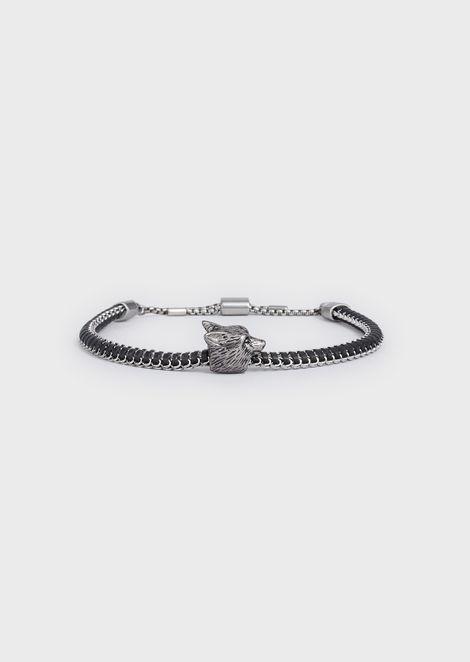 Men's Wolf Silver-tone Stainless Steel Bracelet