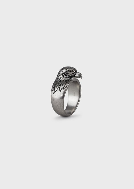Men's Eagle Silver-tone Stainless Steel Cocktail Ring