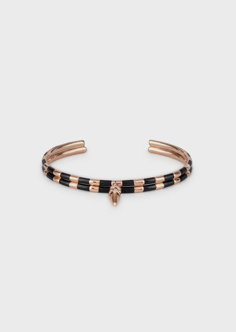 Women's Black and Rose Gold Striped Stack Bracelets