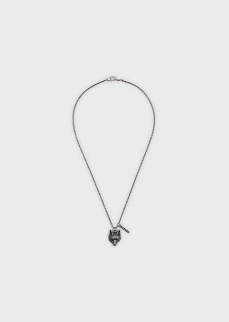 Men's Wolf Silver-tone Stainless Steel Pendant Necklace