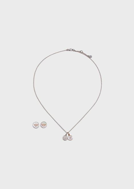 Women's Silver-tone Stainless Steel Necklace and Earring Gift Set