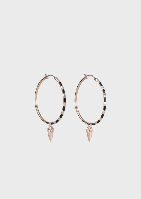 Women's Black and Rose Gold Striped Hoop Earrings
