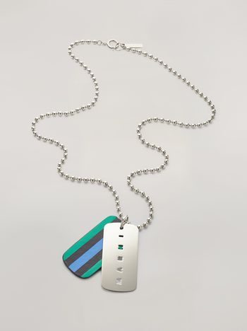 Marni Necklace in metal and leather Man f