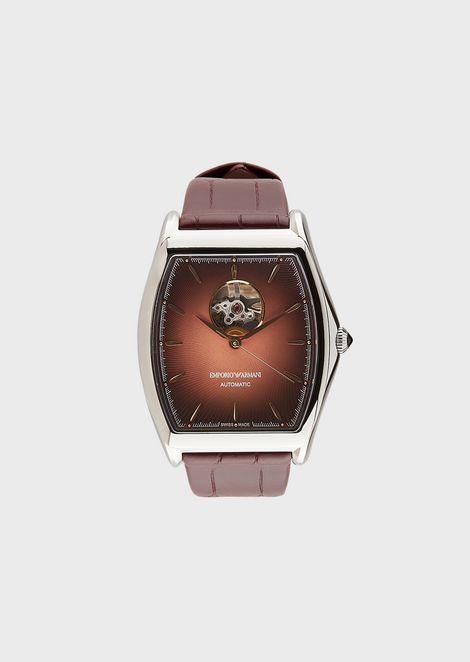 Men's Swiss Made Tonneau Automatic Open Balance Wheel Watch