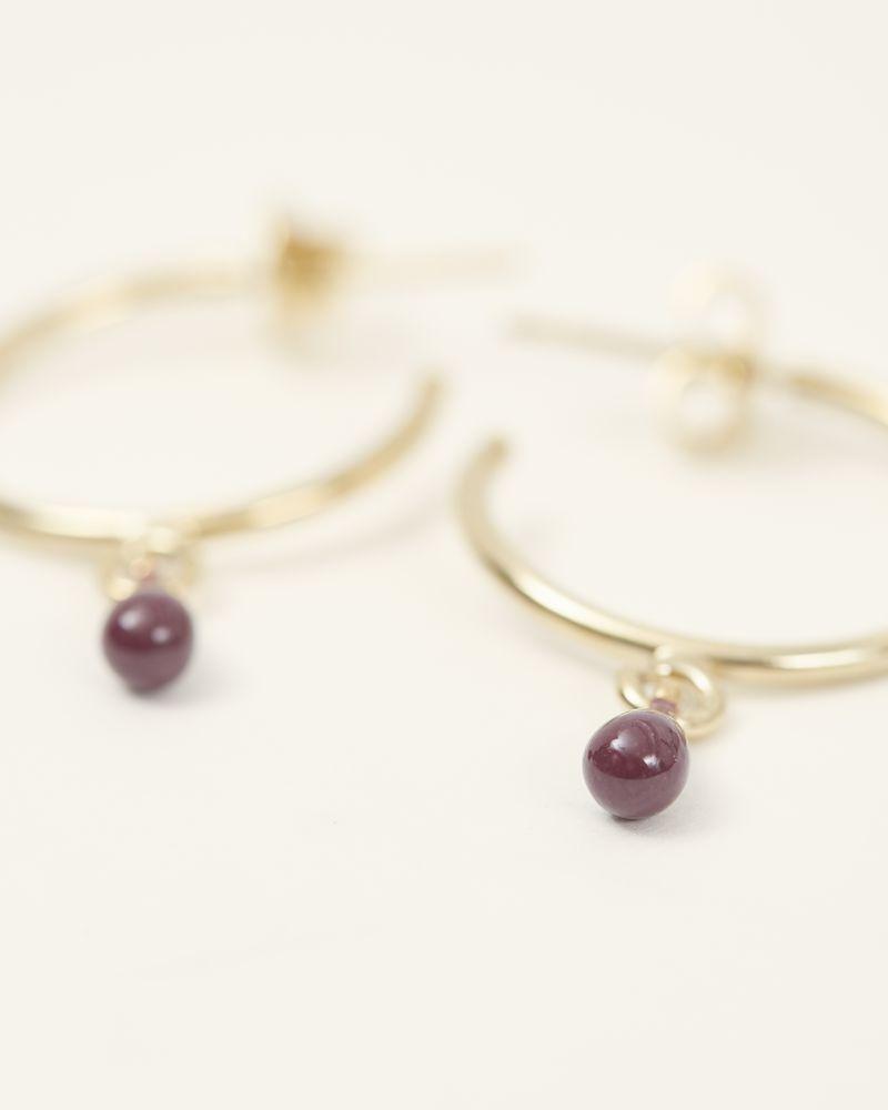 Boucles d'oreilles dorées avec pampille prune ISABEL MARANT