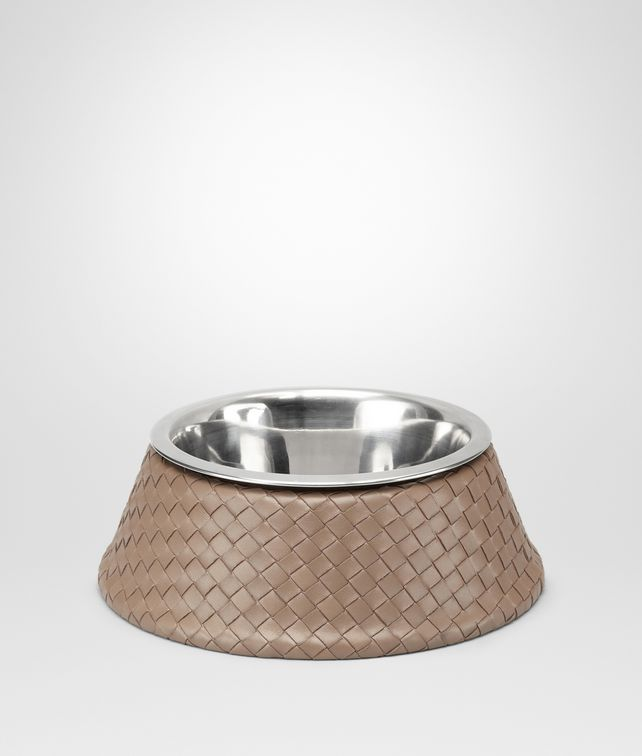 BOTTEGA VENETA Nero Palladio Intrecciato VN Brushed Steel Dog Bowl Pet Accessory E fp