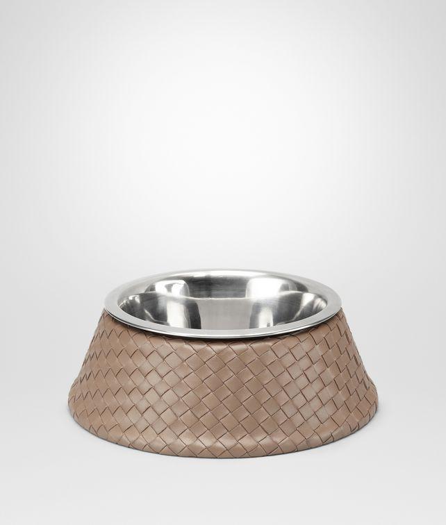 BOTTEGA VENETA Hundenapf aus VN-Leder und gebürstetem Stahl Intrecciato Nero Palladio Haustier Zubehör E fp
