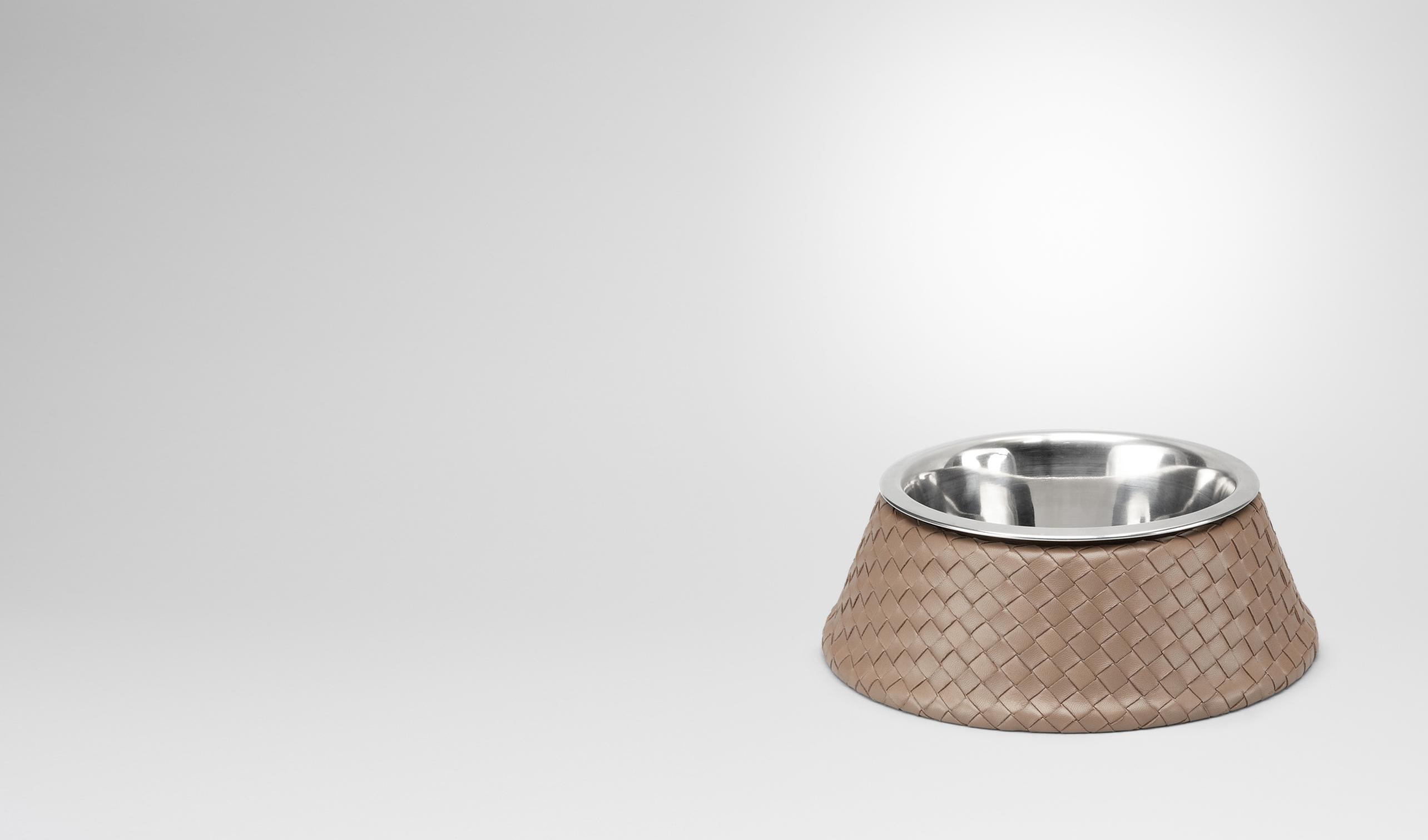 BOTTEGA VENETA Pet Accessory E Nero Palladio Intrecciato VN Brushed Steel Dog Bowl pl