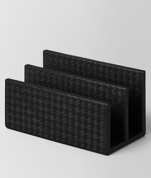 BOTTEGA VENETA PAPER HOLDER IN NERO INTRECCIATO NAPPA Desk accessory E fp