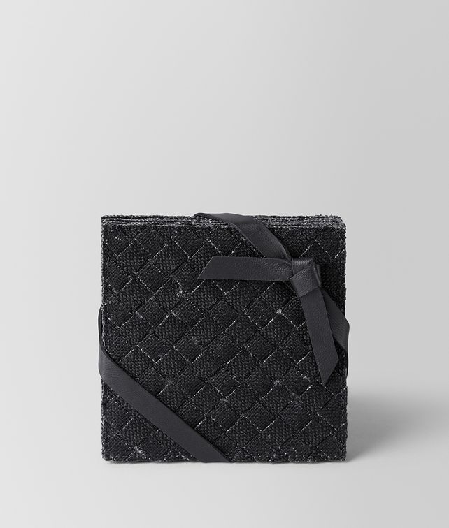 BOTTEGA VENETA COASTERS IN NERO INTRECCIATO LINEN Desk accessory E fp
