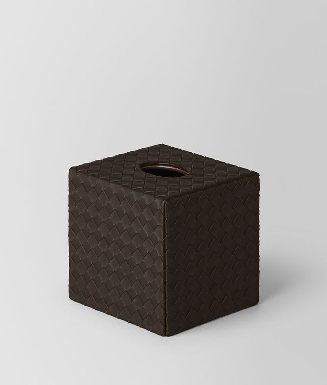 BOTTEGA VENETA ESPRESSO INTRECCIATO NAPPA LEATHER VERTICAL TISSUE BOX Desk accessory E fp
