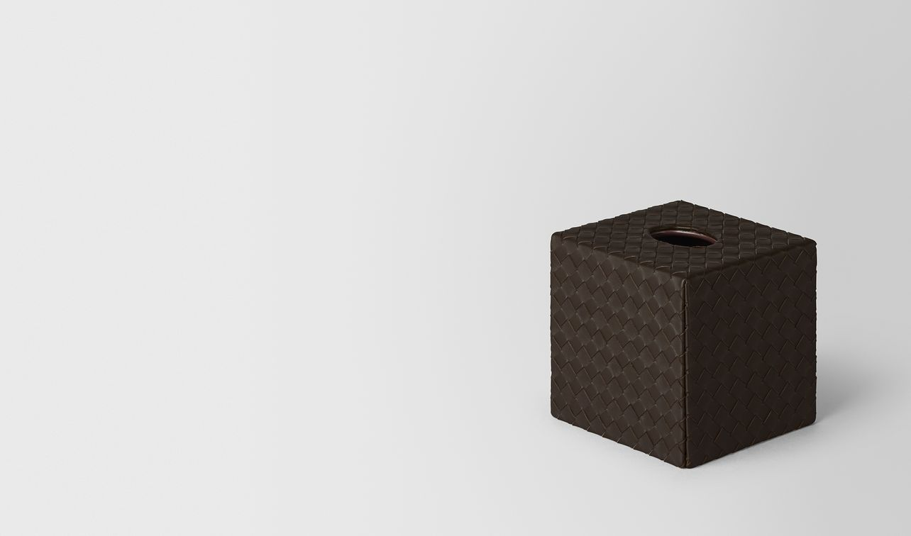 espresso intrecciato nappa leather vertical tissue box landing