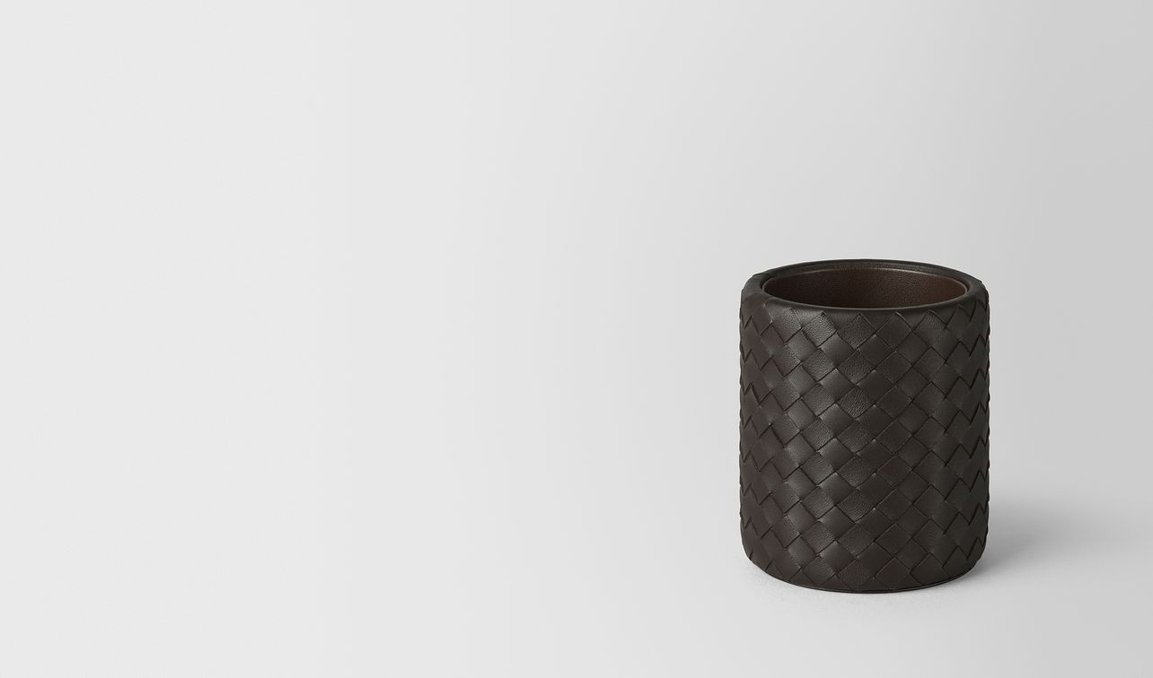 espresso intrecciato nappa leather pencil holder landing