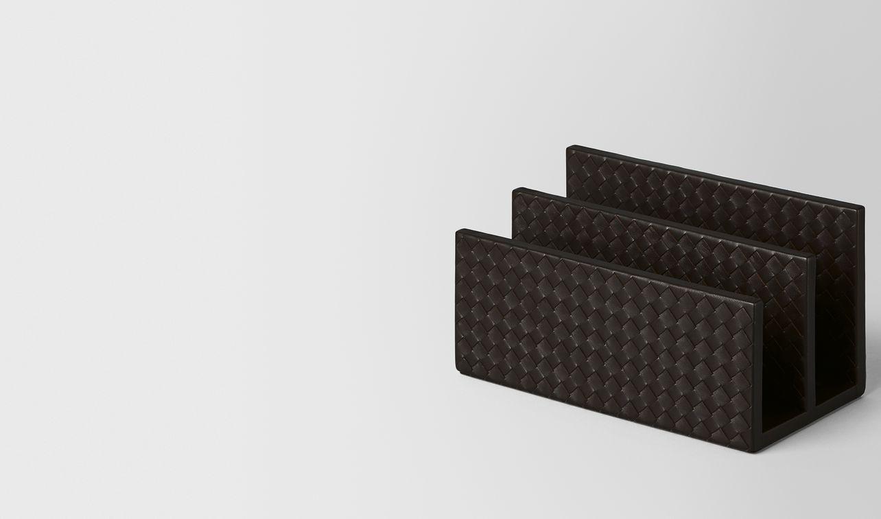 espresso intrecciato nappa leather letter rack landing