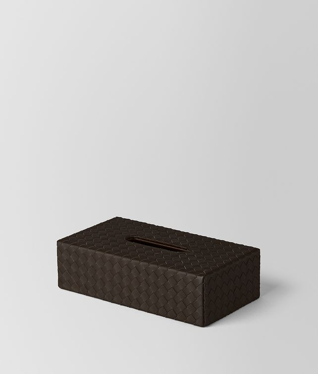 BOTTEGA VENETA ESPRESSO INTRECCIATO NAPPA LEATHER HORIZONTAL TISSUE BOX Desk accessory E fp