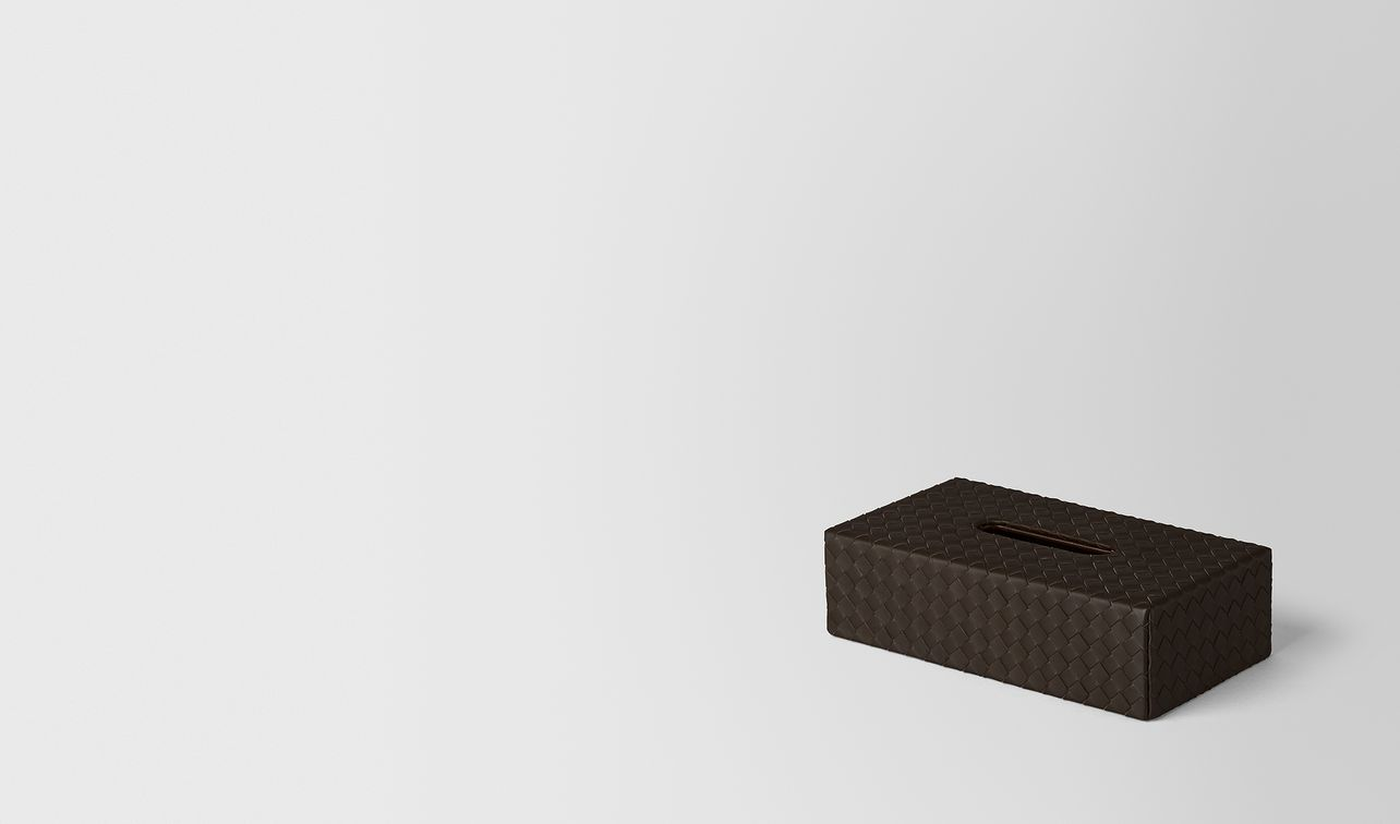espresso intrecciato nappa leather horizontal tissue box landing