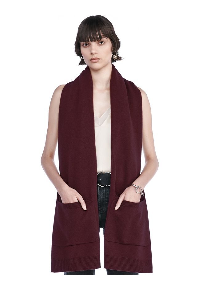 T by ALEXANDER WANG knitwear-t-by-alexander-wang-woman CASHWOOL KNIT SCARF WITH PATCH POCKET DETAIL