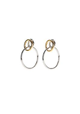 MIXED METAL TRIPLE HOOP EARRINGS