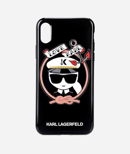 KARL LAGERFELD Karl Sailor Black TPU case iPhone X 12_f