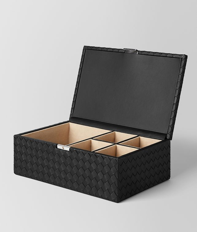 BOTTEGA VENETA NERO INTRECCIATO NAPPA LEATHER JEWELRY BOX BOXES E fp