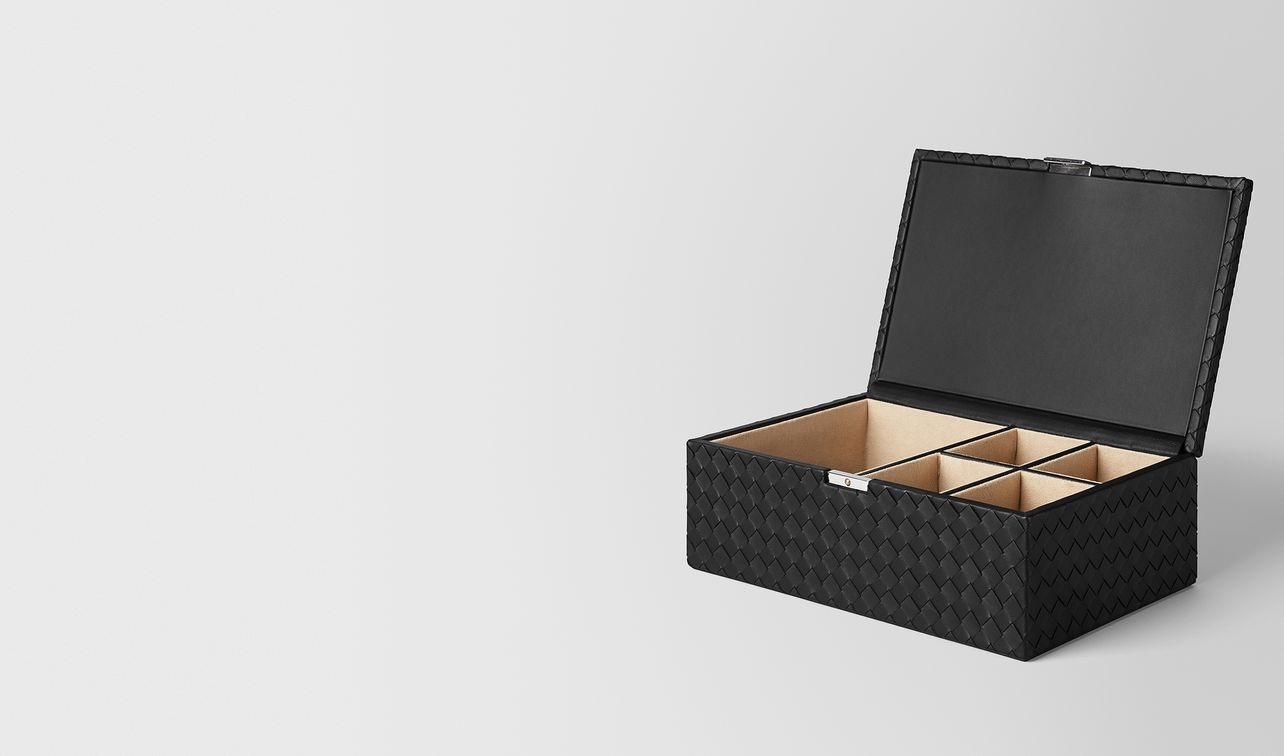 nero intrecciato nappa leather jewellery box landing