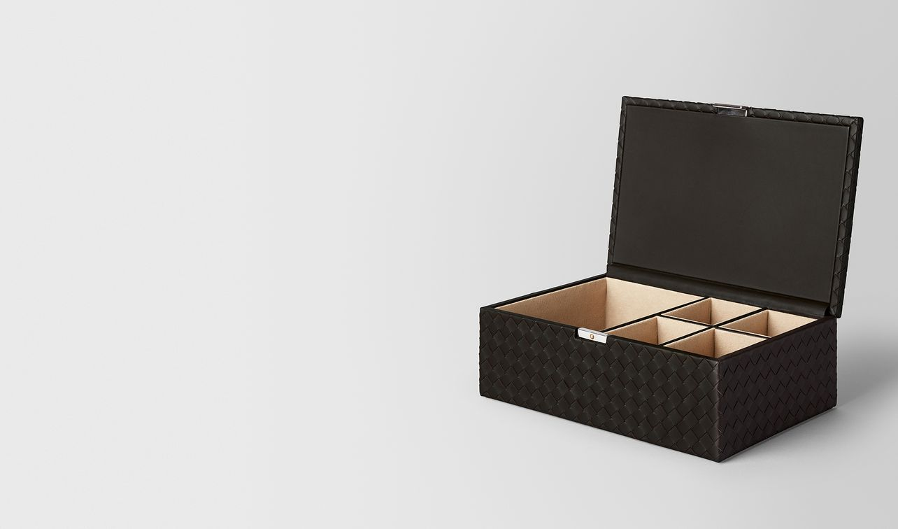 espresso intrecciato nappa leather jewellery box landing