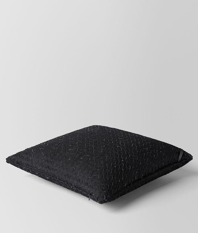 BOTTEGA VENETA NERO INTRECCIATO LINEN SQUARE PILLOW Pillow E fp