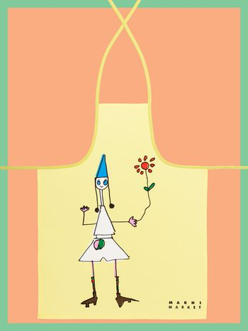 Marni MARNI MARKET cotton and linen apron with doll and flower Man