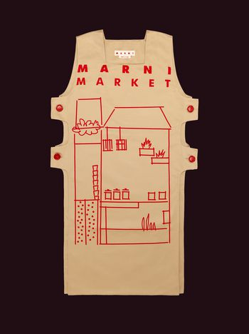 Marni MARNI MARKET cotton and linen apron with red house design Man