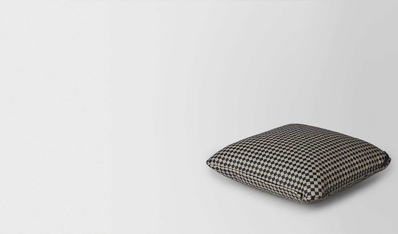 square pillow in intrecciato chequer landing