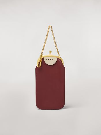 Marni Bordeaux and blue calfskin phone case Woman
