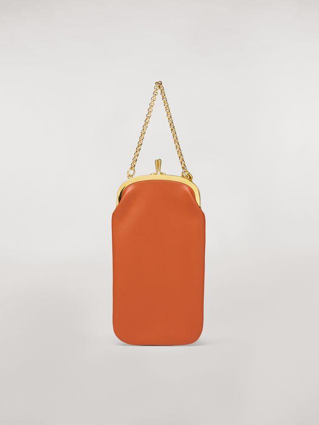 Marni Handycover aus Kalbsleder in Orange und Weiß Damen