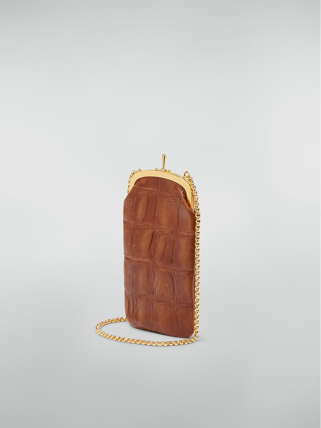 Marni Phone case in large-scale croco-print lambskin brown Woman