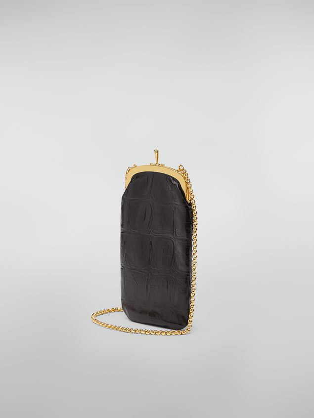 Marni Phone case in large-scale croco-print lambskin black Woman